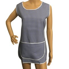 Tabards with large twin pockets and button thro front fastening, 100% Polyester for excellent wear and wash-ability, Offered in 6 pleasing Gingham pattern colours and 6 sizes.. DARK BLUE Size WX 12-14