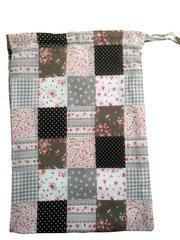 A Patchwork Print Poly-Cotton Drawstring Bag. Size 25cm x 35cm. PATCHWORK