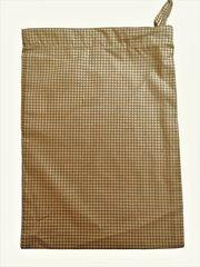 Cotton-Poplin Drawstring Bag in Tan Small Gingham Check. Size 25cm x 35cm. TAN