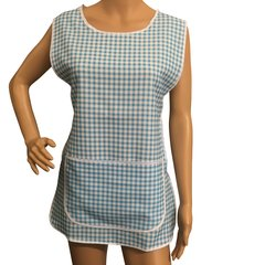 Tabards with large pocket and side fastening, 100% Polyester for excellent wear and wash-ability, Offered in 6 pleasing Gingham pattern colours and 6 sizes.. LIGHT BLUE Size XXOS 24-26