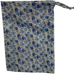 Cotton Poplin Flower Print Drawstring Bag with matching drawstring. Size 25cm x 35cm Blue