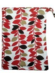 Colourful Leaf Design Cotton Drawstring Bag. Size 25cm x 35cm. LEAF DESIGN