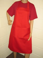 Cotton Aprons, full size, with pockets, choice of colour, Red