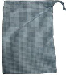 Cotton-Poplin Drawstring Bag in Light Blue Small Gingham Check. Size 25cm x 35cm. LIGHT BLUE