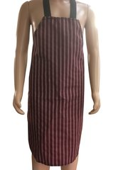 Child's Waterproof 'Butchers Stripe Style' Aprons, Size 7 years old to 10 years old BURGUNDY