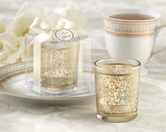 """Golden Renaissance"" Glass Tealight Holder with soy candle"