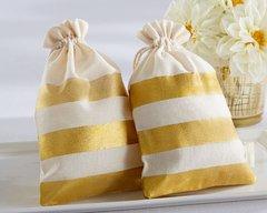 Gold Stripe Muslin Favour Bag (Set of 12)