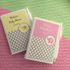 Personalised Mini Note Pad & Pen Set Favour - Baby Elephant Baby Shower Design