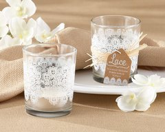 """Lace"" Frosted-Glass Tealight Holders"