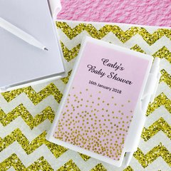 Personalised Mini Note Pad & Pen Set Favour - Pink & Gold Confetti Design