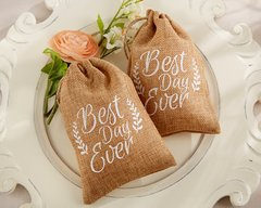 """Best Day Ever"" Burlap Favour Bags (Set of 12)"