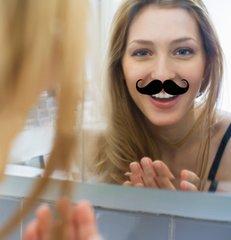 mustache mirror sticker