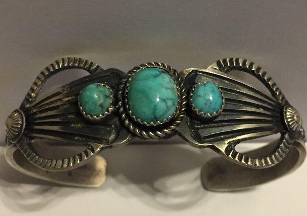 Kevin Billah signed antique finish sterling & turquoise bracelet.