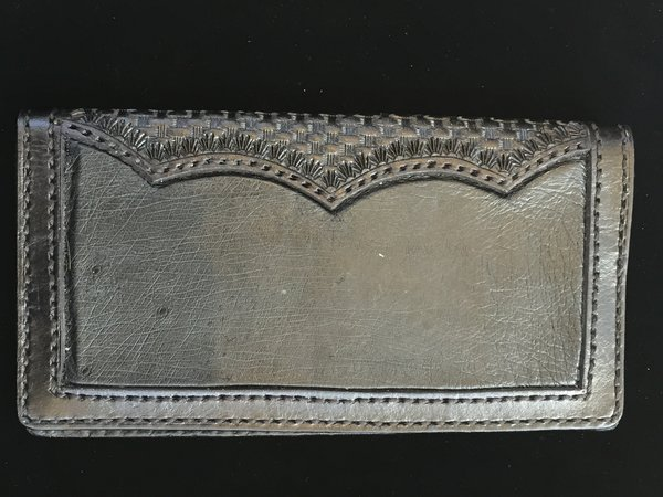 SMOOTH OSTRICH & TOOLED LEATHER ROPER WALLET