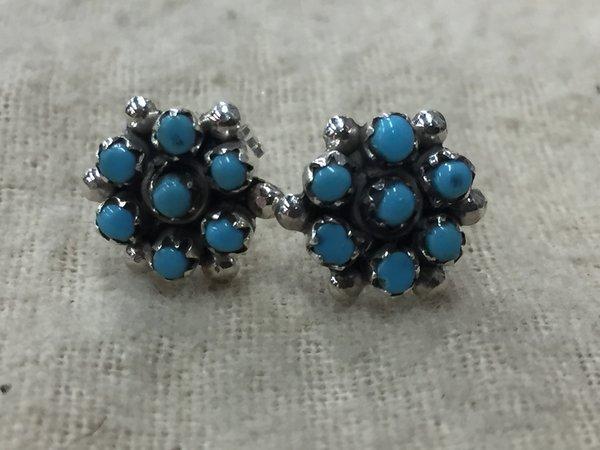 Sterling silver & sleeping beauty turquoise cluster stud earrings