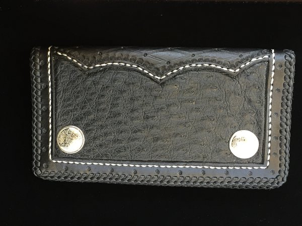 SMOOTH OSTRICH & TOOLED LEATHER HANDMADE ROPER WALLET MADE IN TEXAS