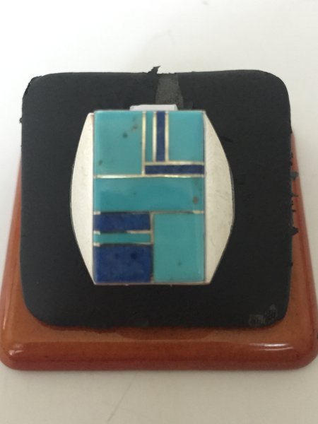 Signed Wilbert Grey stering silver Turquoise & Lapis Azul inlay ring