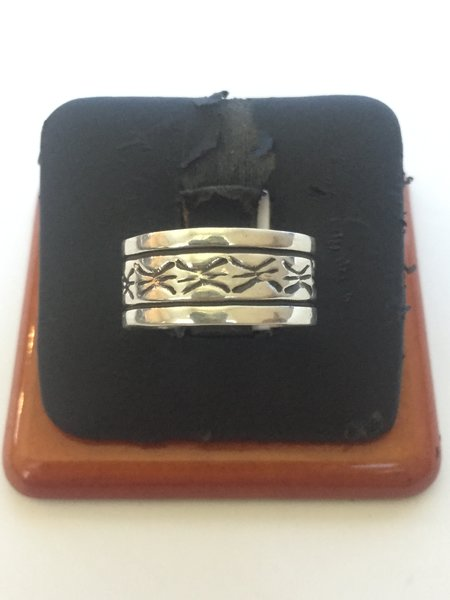 Signed Navajo sterling silver band