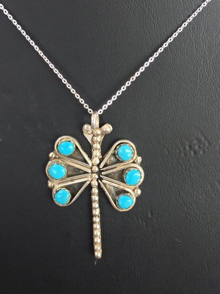 """STERLING SILVER & TURQUOISE DRAGON FLY PENDANT WITH 18"""" STERLING SILVER CHAIN"""