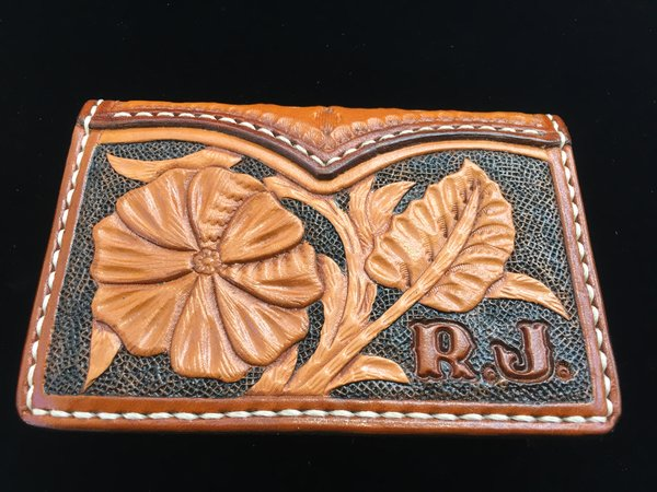 HAND TOOLED LEATHER CARD WALLET MADE IN TEXAS