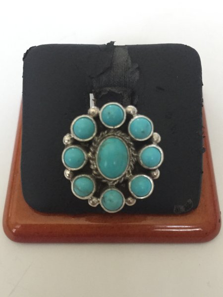 Peggy Skeets signed sterling & turquoise cluster ring.