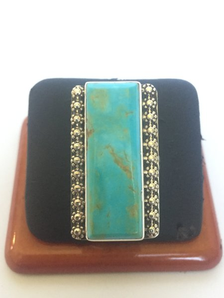 Signed Ray jack turquoise & sterling silver ring.