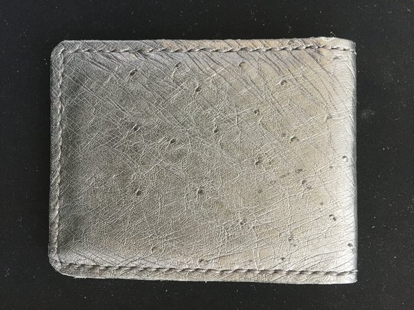 GENUINE SMOOTH OSTRICH BIFOLD WALLET HANDMADE IN TEXAS