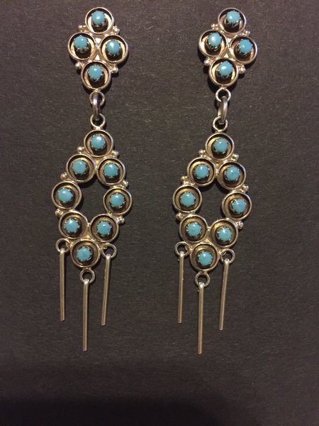 Zuni chandelier post dangle earrings. Sterling silver & turquoise.