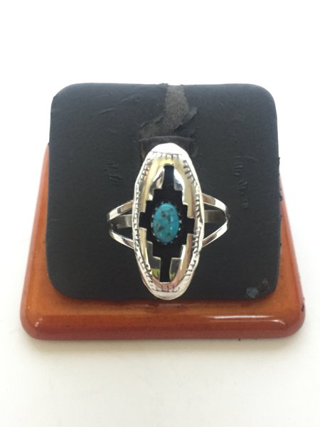 "Sterling silver & turquoise shadow box ring 1"" long"