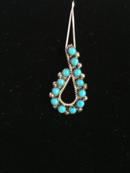 "HANDMADE STERLING SILVER GENUINE TURQUOISE PENDANT W 18"" CHAIN"