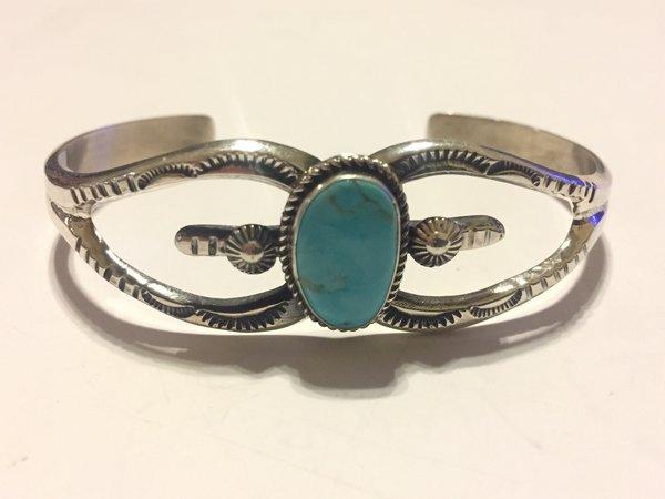 Navajo stamped/turquoise sterling silver bracelet.