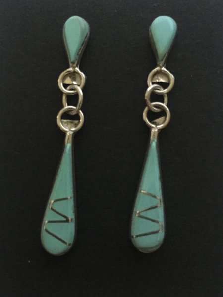 Tear drop Zuni inlay dangle earrings. Sterling & turquoise.