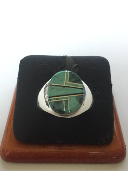 Wilbert grey oval inlay ring. Sterling silver, turquoise, onyx.