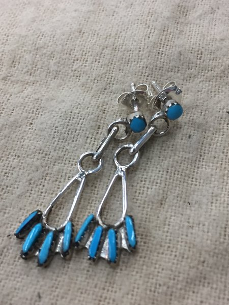 Sterling silver & turquoise petit point dangle earrings