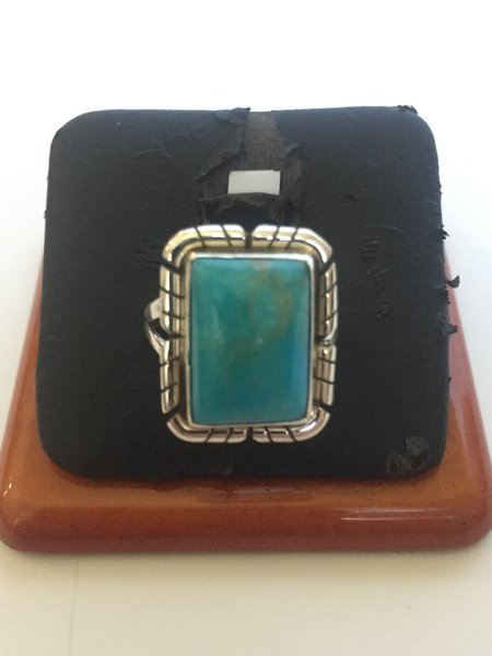 Signed Peggy Skeets sterling silver & turquoise ring