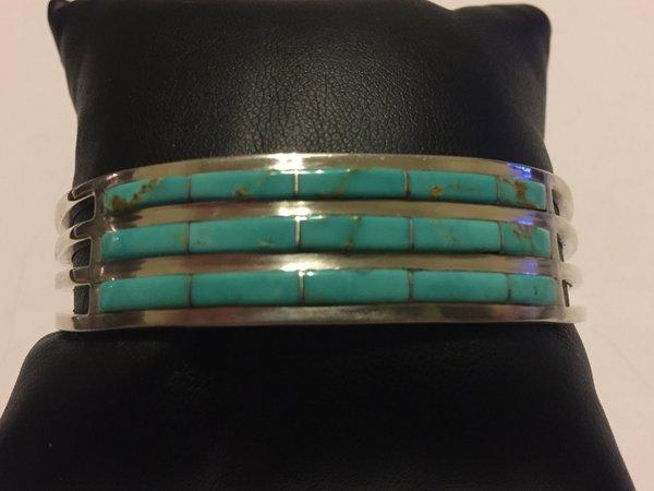 Jamie Johnson 3 row turquoise inlay bracelet sterling silver.