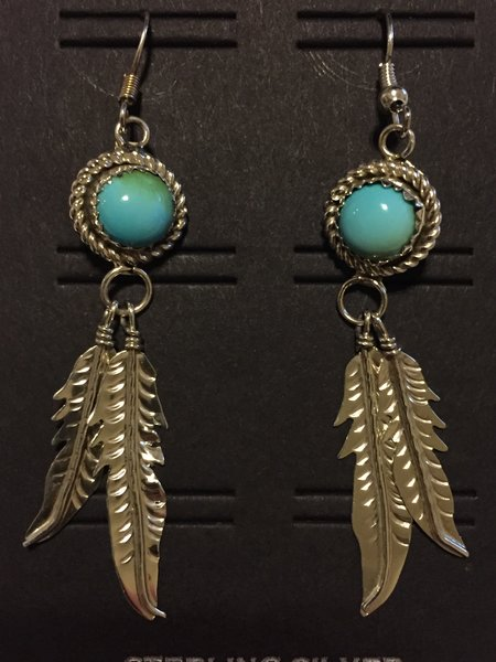 Turquoise with rope bezel & 2 feathers dangle earrings sterling.