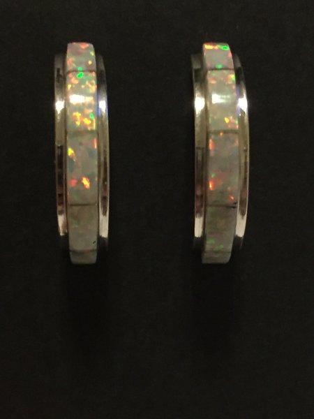 Zuni white opal inlay hoops