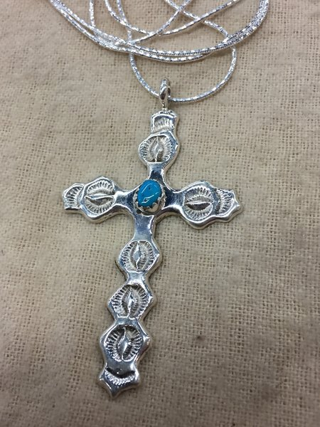 """Large sterling silver & turquoise cross pendant w 18"""" sterling chain"""