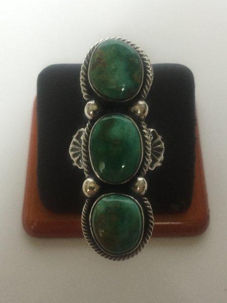 Signed Carico Lake turquoise ring. Satin finish gem grade.