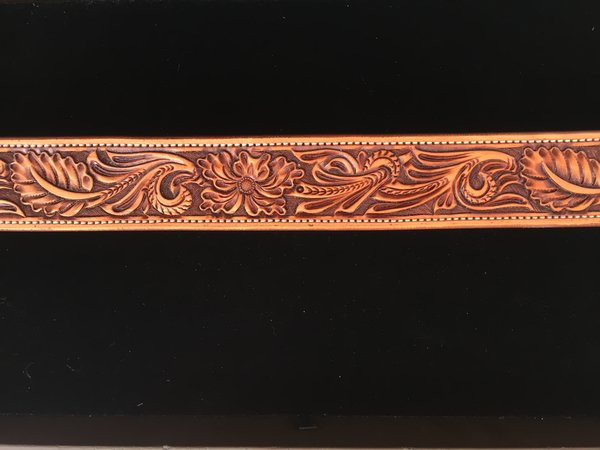 HAND TOOLED HERMANN OAK LEATHER BELT ANTIQUE FINISH