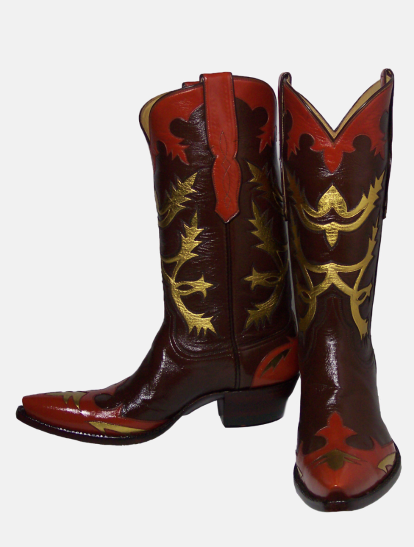 VAQUERO BOOT W COLLAR WINGTIP COUNTER INLAY