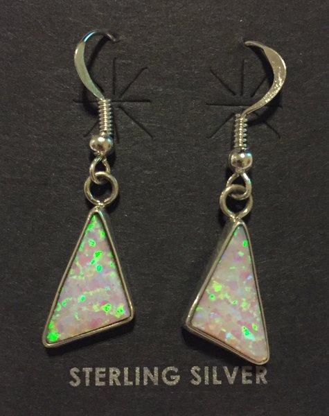 Signed sterling & white opal dangle earrings.