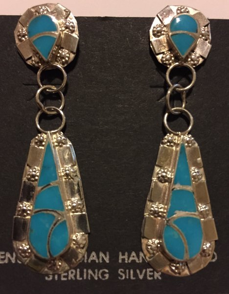 Signed Carmichael Haloo signed turquoise inlay earrings. Sterling silver.
