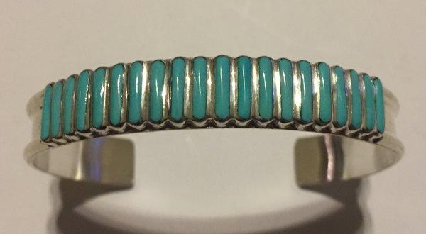 Zuni sterling silver & turquoise signed L.S. Bracelet