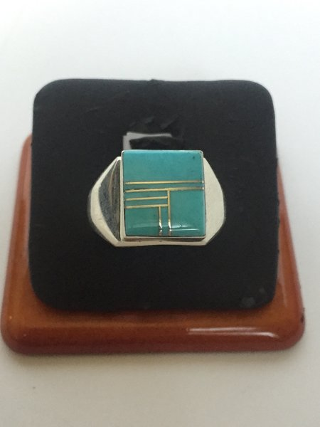 Wilbert Grey sterling silver & turquoise inlay ring