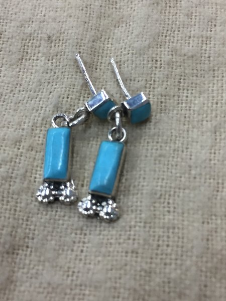 Sterling silver & genuine turquoise dangle stud earrings