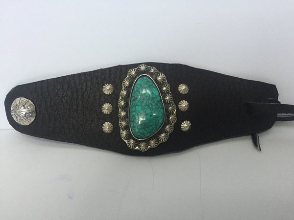 Dan Martinez leather, sterling silver & spiderweb turquoise bracelet