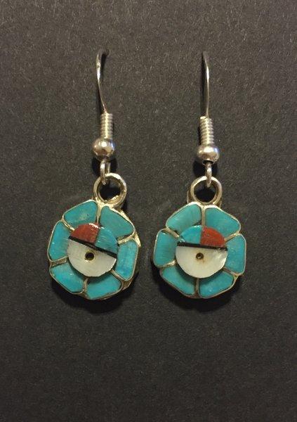 Zuni sunface multi stone inlay earrings.