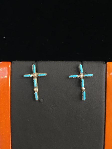 HANDMADE STERLING SILVER & TURQUOISE PETIT POINT CROSS EARRINGS